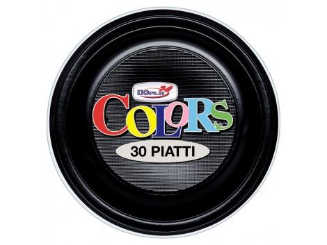Farfurii din plastic, 22 cm, negru, 30 buc./set