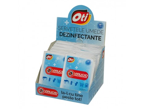 Servetele umede dezinfectante virucide ambalate individual, 30 buc./cutie