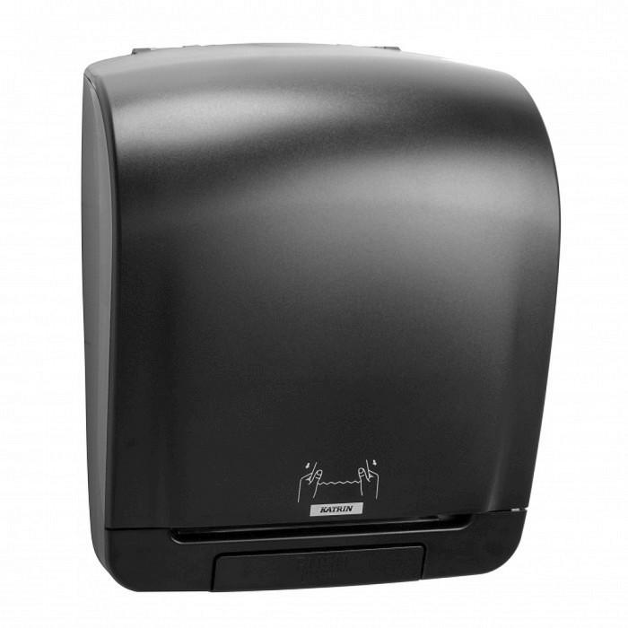 Dispenser Katrin, negru, rola prosop M2 cu derulare exterioara