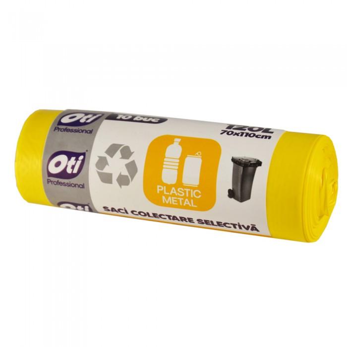 Saci colectare selectiva - Plastic/Metal, 120L, galben, 10 buc./rola