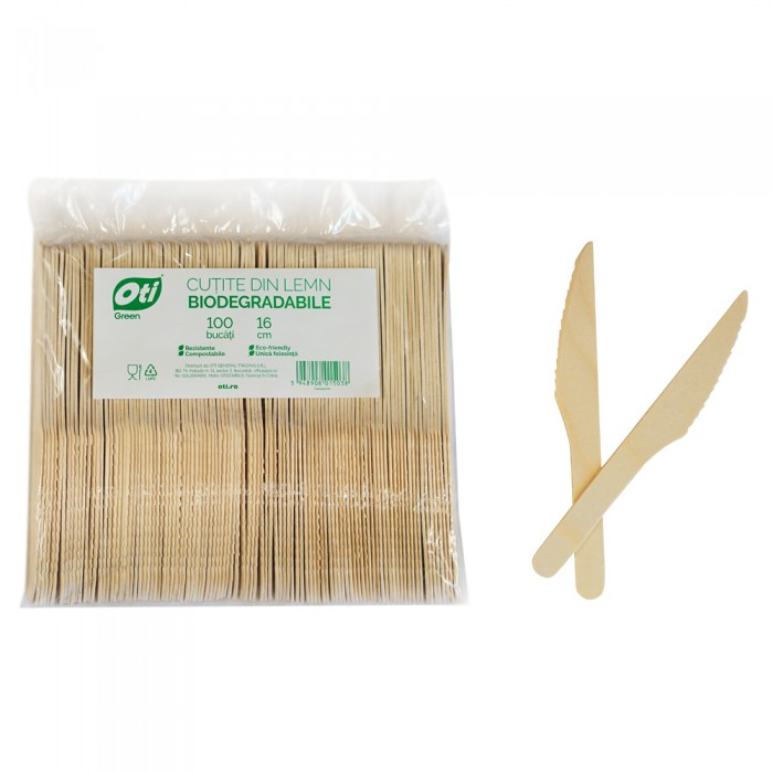 Cutite ascutite din lemn biodegradabile, 16cm, 100 buc./pachet