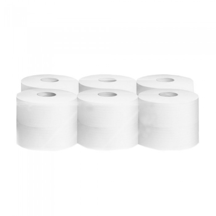 Hartie igienica jumbo, alba, 2 straturi, 12 role/bax
