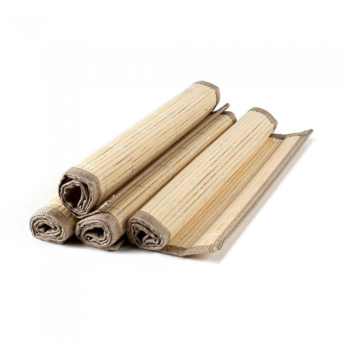 Set placemat bambus, margine textila, 4 buc./set, crem