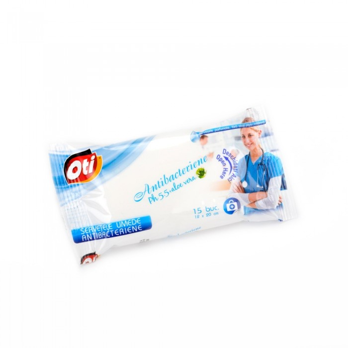 Servetele umede antibacteriene OTI, 15 buc./pachet