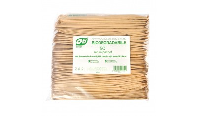 Set tacamuri din lemn biodegradabile in ambalaj hartie, furculita+cutit, 50 seturi/pachet