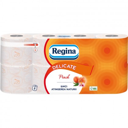Hartie igienica Regina Delicate, piersica, 3 straturi, 8 role