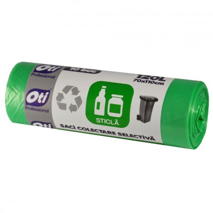 Saci colectare selectiva - Sticla, 120L, verde, 10 buc./rola