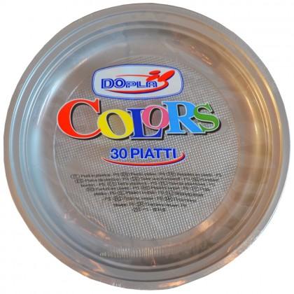 Farfurii din plastic, 22 cm, argintiu, 30 buc./set