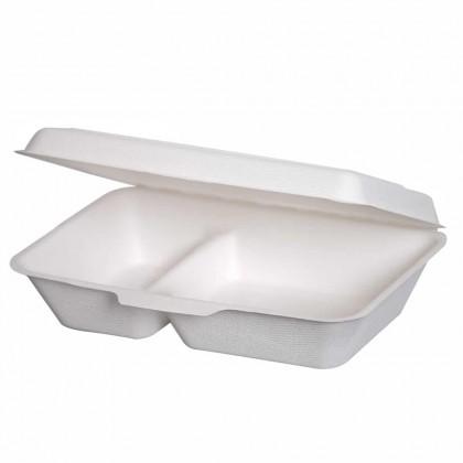 Cutii meniu unica folosinta biodegradabile 1000 ml, 2 compartimente, 50 buc./set