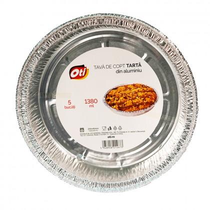Tava din aluminiu pentru copt tarta, 1380ml, 5 buc./set