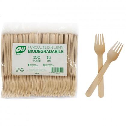 Furculite din lemn biodegradabile, 16cm, 100 buc./pachet