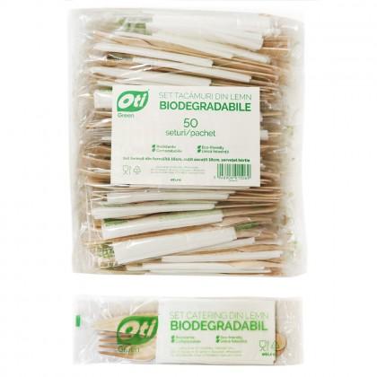 Set tacamuri din lemn biodegradabile, furculita+cutit+servetel, 50 seturi/pachet