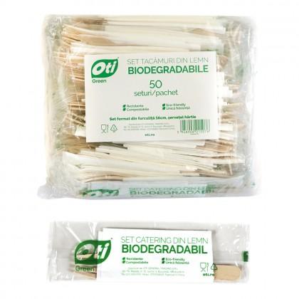 Set tacamuri din lemn biodegradabile, furculita+servetel, 50 seturi/pachet