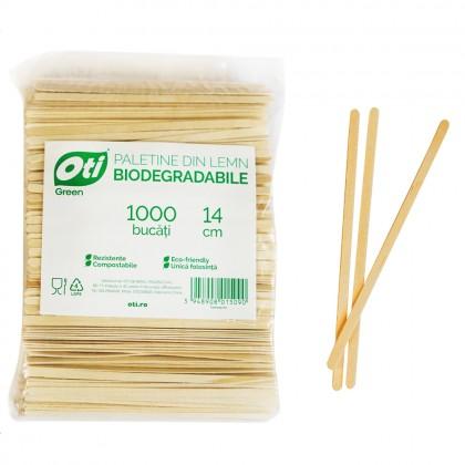 Paletine din lemn biodegradabile, 14cm, 1000 buc./pachet