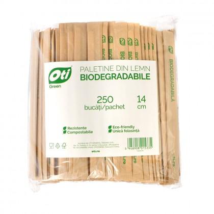 Paletine din lemn biodegradabile, ambalate individual, 14 cm, 250 buc./pachet