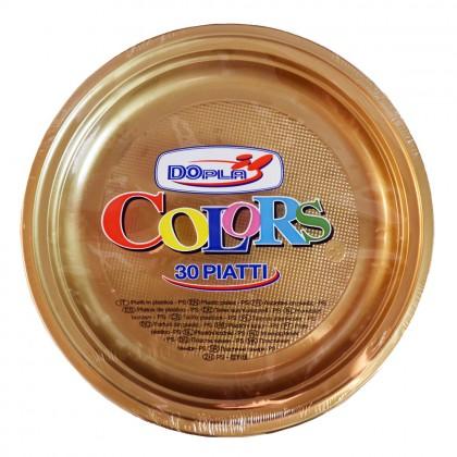 Farfurii din plastic 22 cm, auriu, 30 buc./set