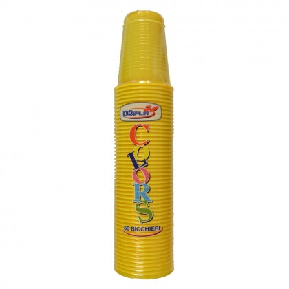 Pahare din plastic, 200 ml, galben, 50 buc./set