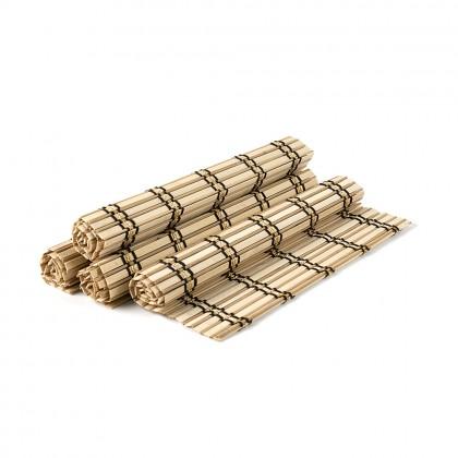 Set placemat bambus, cu dungi, 4 buc./set, crem