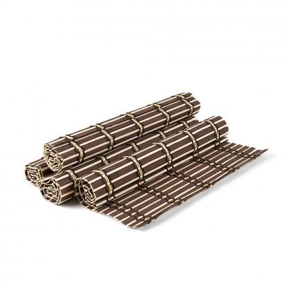 Set placemat bambus, cu dungi, 4 buc./set, maro