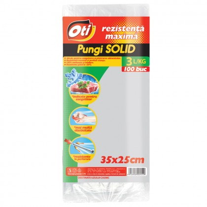 Pungi pentru uz casnic SOLID 3L, 35x25 cm, 100 buc./set