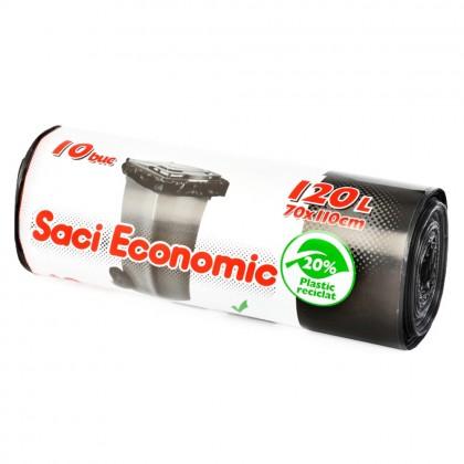 Saci menaj ECONOMIC 120L, negru, 10 buc./rola