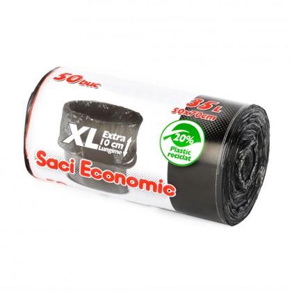 Saci menaj ECONOMIC 35L XL, negru, 50 buc./rola