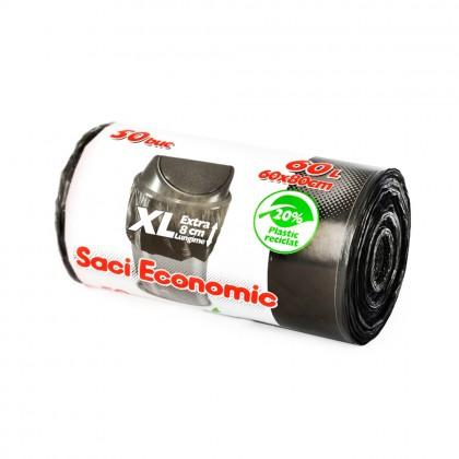 Saci menaj ECONOMIC 60L XL, negru, 50 buc./rola