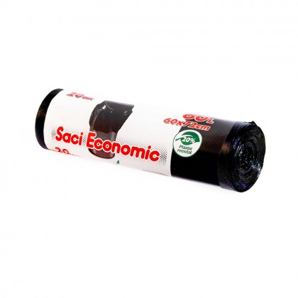 Saci menaj ECONOMIC 60L, negru, 20 buc./rola