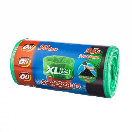 Saci SOLID, 35L XL, verde, 50 buc./rola