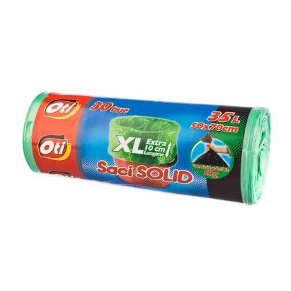 Saci SOLID, 35L XL, verde, 30 buc./rola
