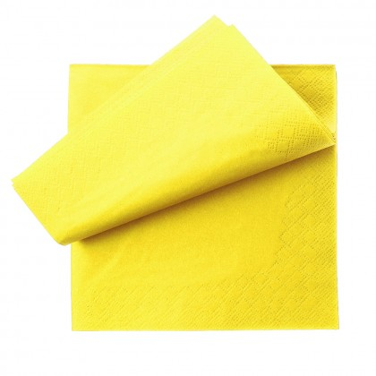 Servetel 33x33 cm., galben, 2 straturi, 250 buc./pachet