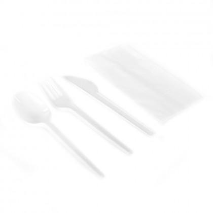 Set Catering Complet, cutit, furculita, lingura, servetel, 100 buc./set