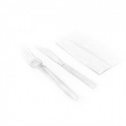 Set Catering transparent Simplu, cutit, furculita, servetel, 100 buc./set