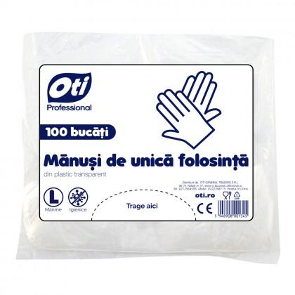 """Manusi de unica folosinta din plastic transparent, marimea """"L"""", 100 buc./pachet"""